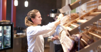 Baking & pastry arts student putting up their daily work, The Bakery Café by illy,  CIA at Greystone