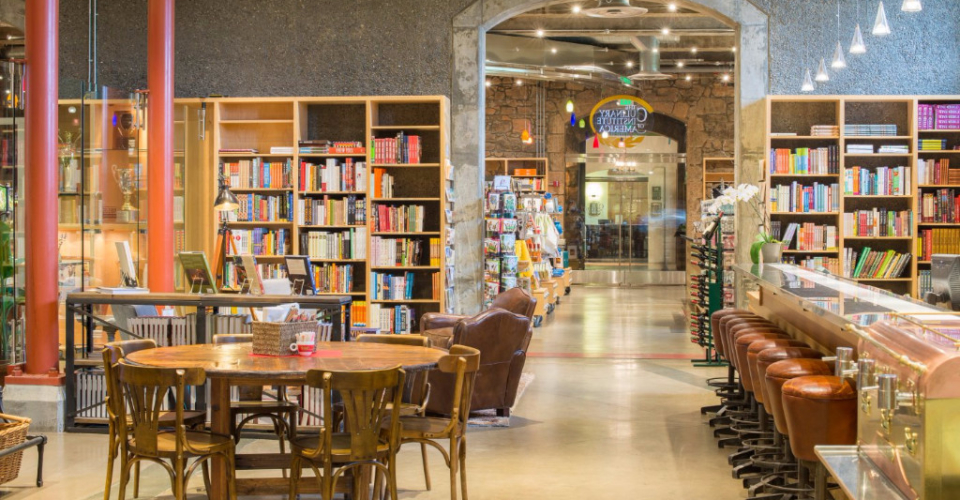 Grab a glass of wine, peruse the campus store books, and relax