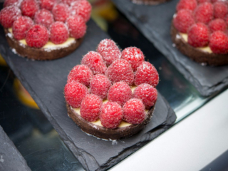 Raspberry tart with vanilla Bavarian cream, The Bakery Café by illy, at  the CIA in St. Helena, CA.