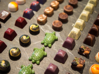 Handmade chocolates in a variety of shapes, The Bakery Café by illy, CIA at Greystone in St. Helena